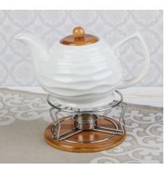Чайник заварочный «Эстет», с подогревом, на деревянной подставке, 900 мл