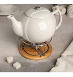 """Чайник заварочный 1,2 л """"Эстет"""", с подогревом, на деревянной подставке"""
